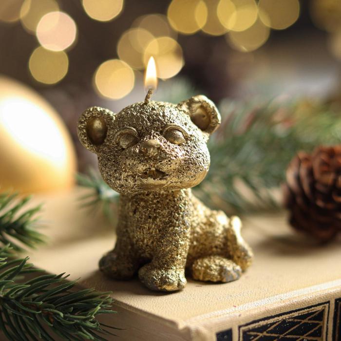 Свеча новогодняя Символ года - Тигрёнок, 5 см, золото