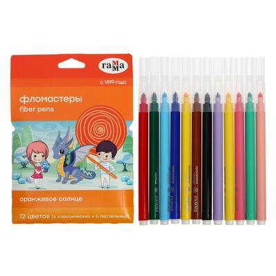 Фломастеры 12 цветов (6 обычных + 6 пастельных) «Гамма» «Оранжевое солнце», смываемые - Фото 1