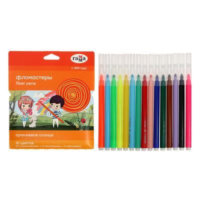 Фломастеры 15 цветов (5 обычных + 5 пастельных + 5 неоновых) «Гамма» «Оранжевое солнце», смываемые - Фото 1
