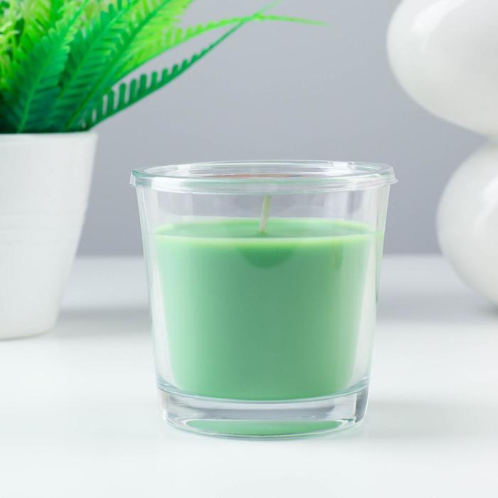 Ароматическая свеча в стакане СИНЛИГ, яблоко и груша, 7,5 см, 25 ч, зеленый