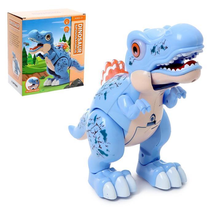 Динозавр «Вилли», свет и звук, работает от батареек, цвет синий