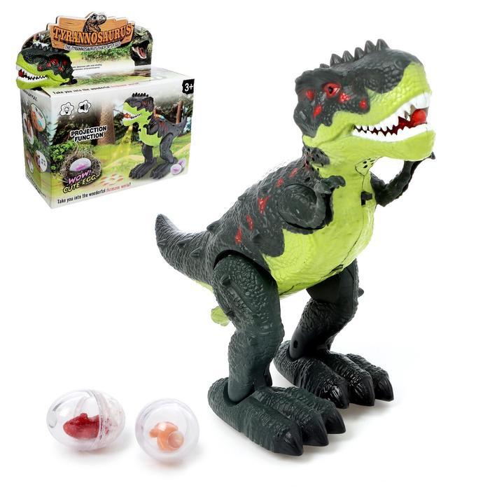 Динозавр «Рекс», откладывает яйца, проектор, свет и звук, работает от батареек, цвет зелёный