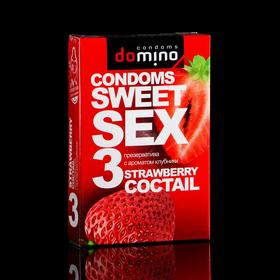 Презервативы Domino sweet sex Strawberry cocktail, 3 шт. Ош