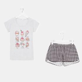 Комплект женский (футболка, шорты), цвет серый, размер 42