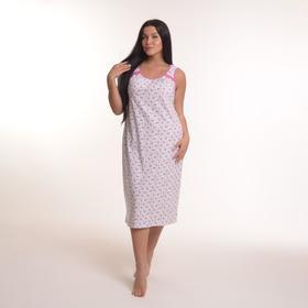 Сорочка женская, цвет белый/розовый, размер 60