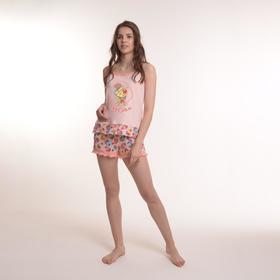 Комплект женский (майка, шорты), цвет розовый/пирожные, размер 44