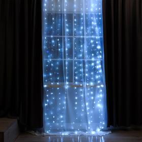 ЗАНАВЕС, Ш:2.8 м, В:3 м, USB, роса, на крючках для штор, LED-300-5V, мерцает, БЕЛЫЙ