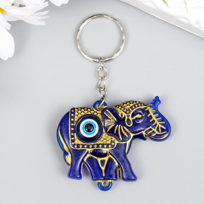 """Брелок пластик глазки """"Индийский слон от сглаза"""" синий с золотом 3,5х5 см"""