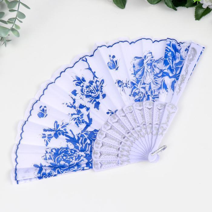 "Веер пластик, текстиль ""Синий рисунок на белом"" МИКС 23 см"