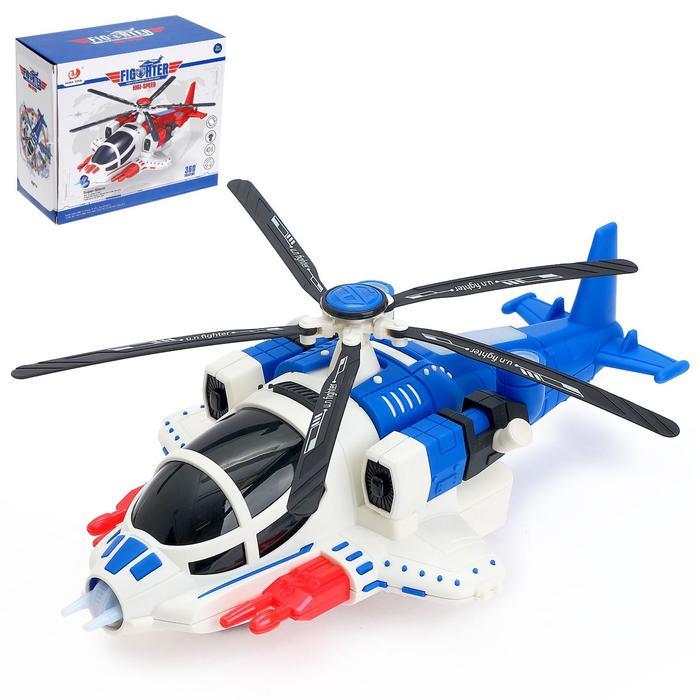 Вертолёт «Полиция», работает от батареек, свет и звук, цвет синий