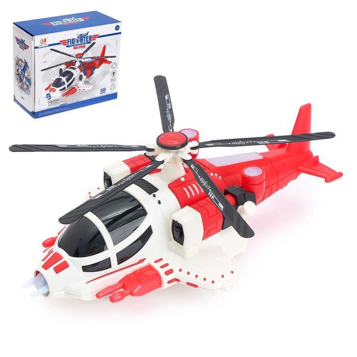 Вертолёт «Полиция», работает от батареек, свет и звук, цвет красный
