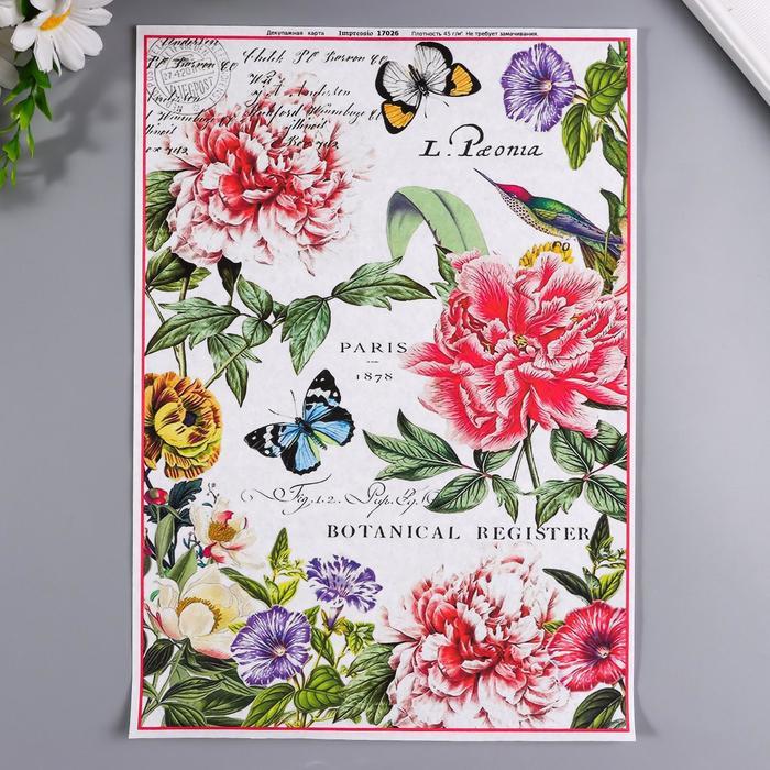 """Декупажная карта """"Бабочки, цветы"""" плотность 45г/м2 формат А25"""