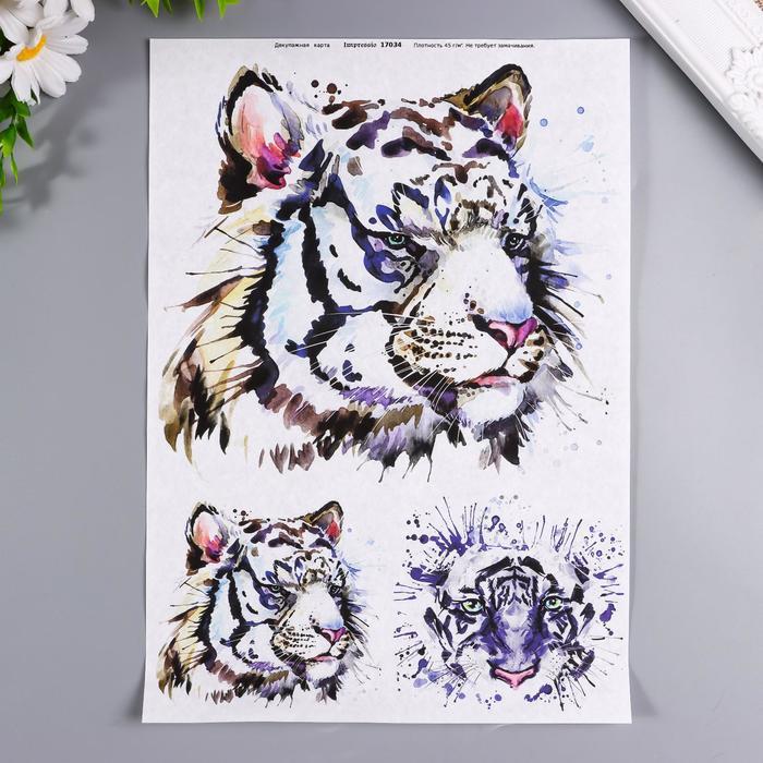 """Декупажная карта """"Голова тигра"""" плотность 45г/м2 формат А30"""