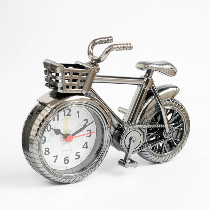 """Будильник """"Велосипед с корзиной"""", дискретный ход, 13.5 х 18.5 см, d=7 см"""