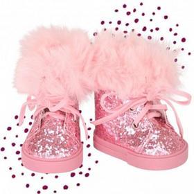 Зимние ботинки с мехом и глитером, для куклы 42-46 см
