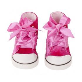 Кеды вельветовые розовые, для куклы 42-50 см