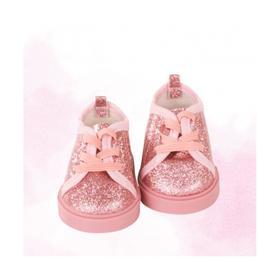 Туфли розовые с блёстками на шнурках, для куклы 42-50 см