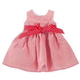 Платье красное в полоску, для куклы 45-50 см