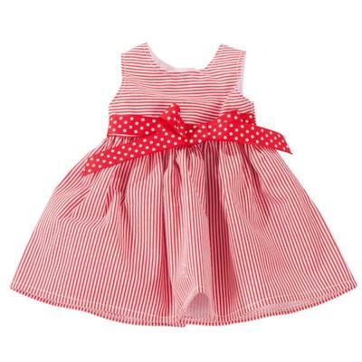 Платье красное в полоску, для куклы 45-50 см - Фото 1