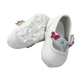 Туфли белые с цветочным ремешком, для куклы 42-50 см