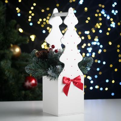 """Ящик подарочный """"Ёлка"""" (12*12*42) Дерево, МДФ 6 мм, окрашен., оформл., Белый-красный - Фото 1"""
