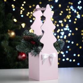 """Ящик подарочный """"Ёлка"""" (12*12*42) Дерево, МДФ 6 мм, окрашен., оформл., Розовый пастель-белый"""