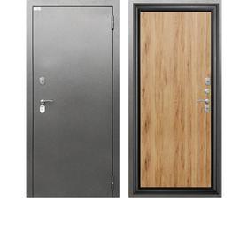 Сейф-дверь «Берлога 3К Термо», 870 × 2050 мм, левая, цвет антик серебро/рустик соломенный