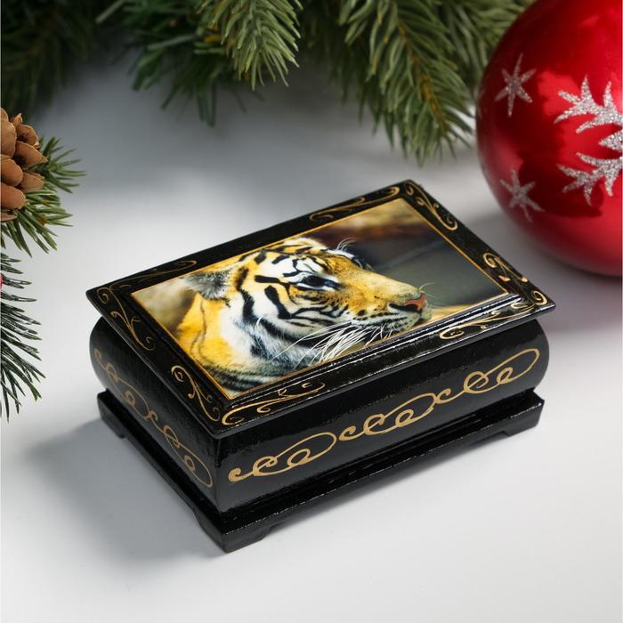 Шкатулка Тигр, 6х9 см, лаковая миниатюра