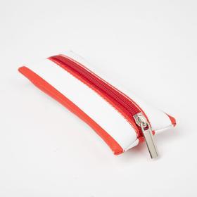 Ключница, длина 14 см, отдел на молнии, цвет белый/красный