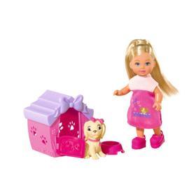 Кукла Еви 12 см, с собачкой в домике