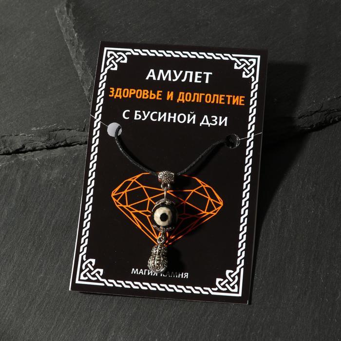 "Амулет ""Бусина Дзи"" на богатство, тыква - горлянка, цвет серебро"
