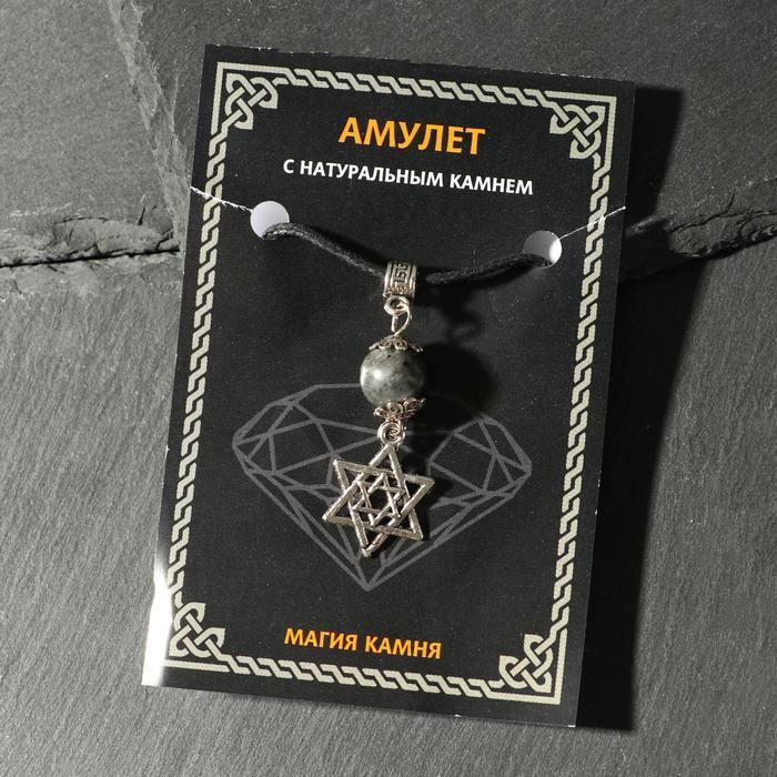 """Амулет """"Лабрадор"""" от сглаза и зла, Звезда Давида цвет чернёное серебро"""
