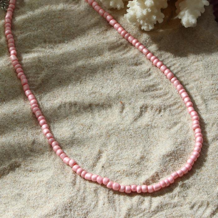 Колье Бисер тренд минимал, цвет светло-розовый, 40 см