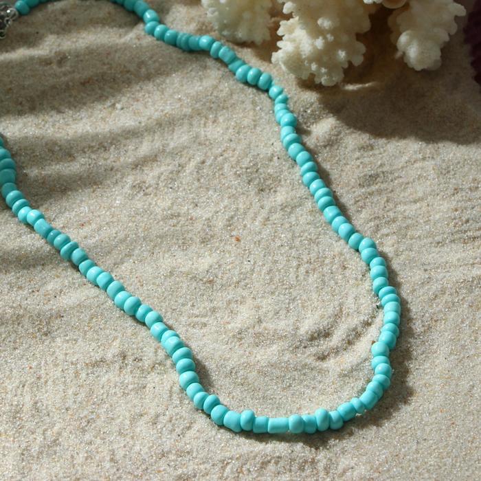 Колье Бисер тренд минимал, цвет небесно-голубой, 40 см