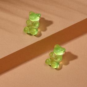 """Серьги акрил """"Мармеладные мишки"""" гвоздики, цвет зелёный"""