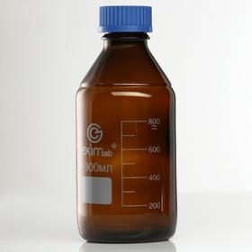 Банка для реактивов 1000 мл, широкое горло, темн. стекло, винт. крышка, со шкалой, EximLAB