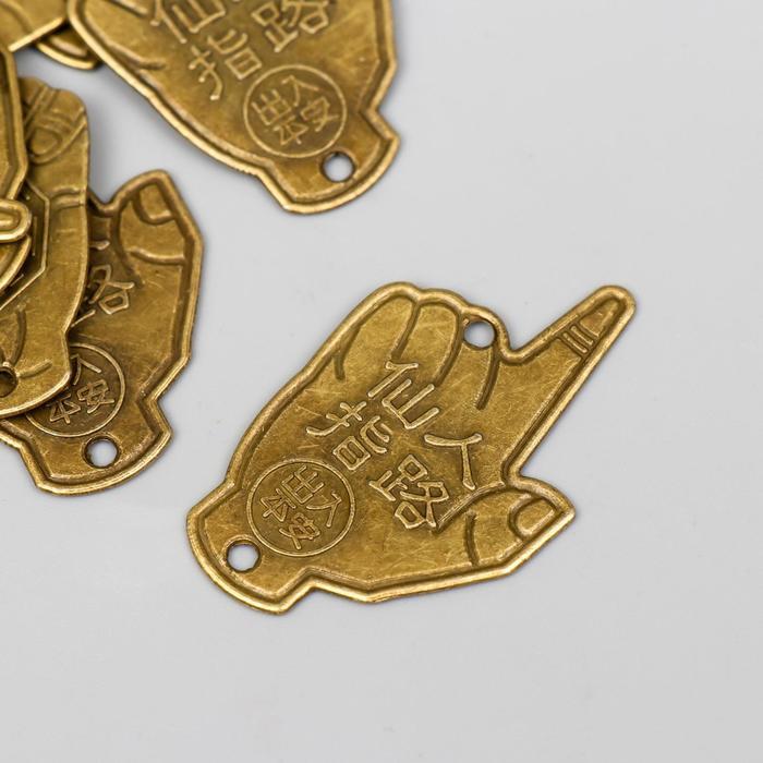Сувенир металл подвеска Рука с монетой Инь-ян под латунь 4,5х3 см