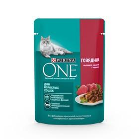 Влажный корм Purinа one для взрослых кошек, говядина/морковь, 75 г