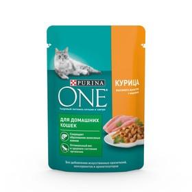 Влажный корм Purinа one для домашних кошек, курица/морковь, 75г
