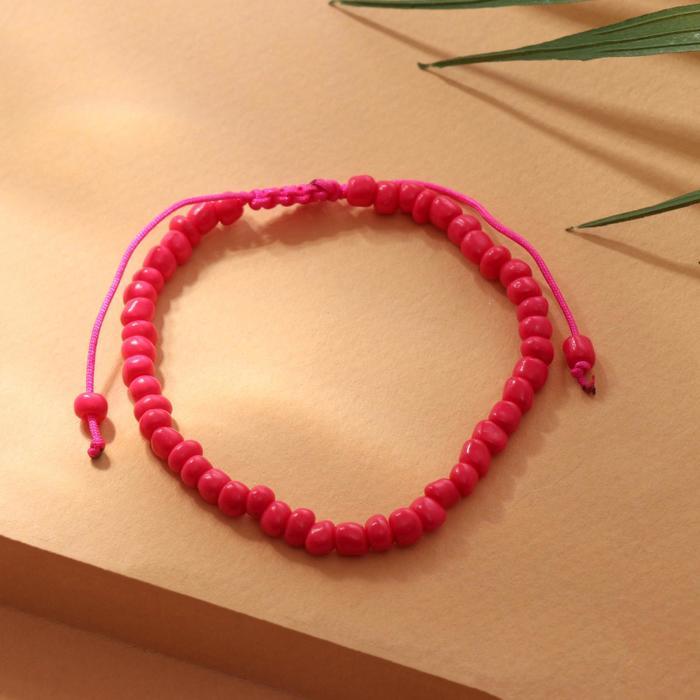 """Браслет """"Бисер"""" тренд минимал, цвет ярко-розовый, 18см"""