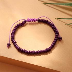 """Браслет """"Бисер"""" тренд минимал, цвет фиолетовый, 18см"""