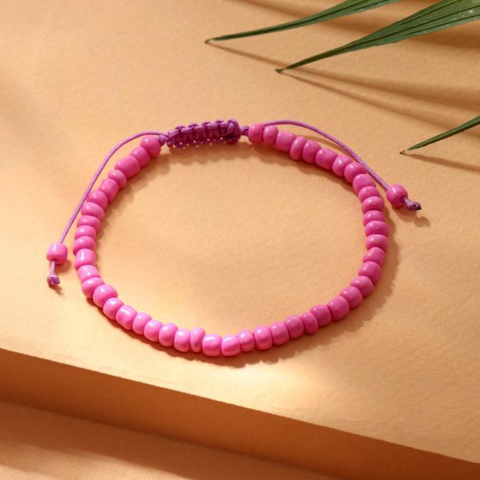 """Браслет """"Бисер"""" тренд минимал, цвет неоново-розовый, 18см"""