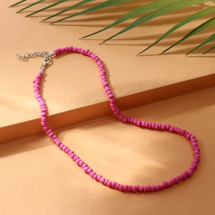 Колье Бисер тренд минимал, цвет ярко-малиновый, 40 см