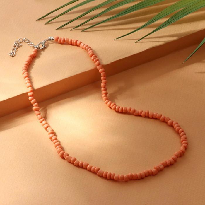 Колье Бисер тренд минимал, цвет персиковый, 40 см