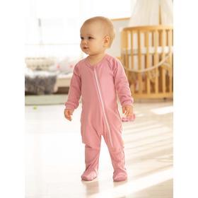 Комбинезон слип детский, рост 56 см, цвет розовый