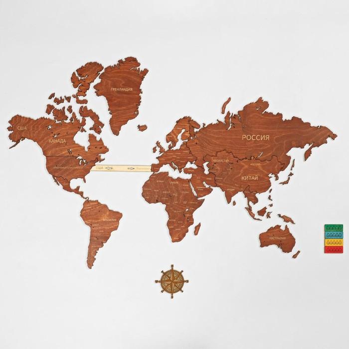 """Декор настенный """"Карта мира"""", 67 х 101 см"""