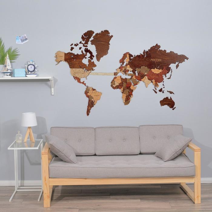 """Декор настенный """"Карта мира"""", 78 х 121 см"""