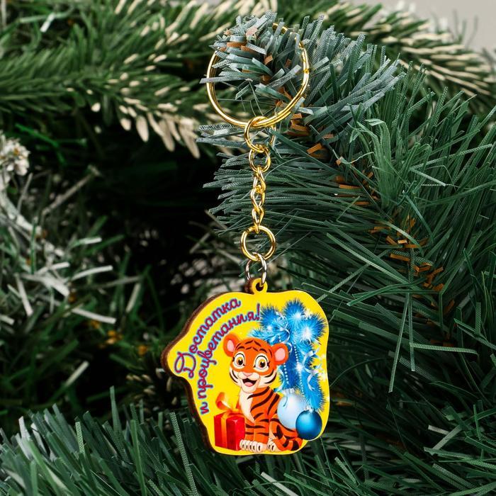 Брелок Достатка и процветания тигр с шарами и подарком, желтый фон