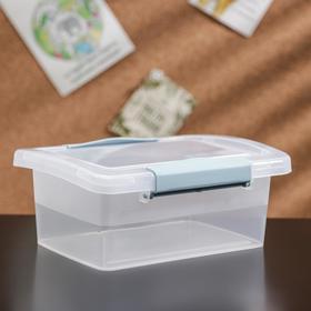 Ящик для хранения с крышкой и защёлками Laconic mini, 850 мл, 17×12×7 см, цвет прозрачный/небесный