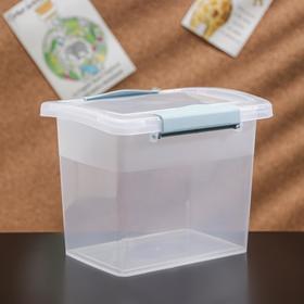 Ящик для хранения с крышкой и защёлками Laconic mini, 1,6 л, 17×12×13 см, цвет прозрачный/небесный